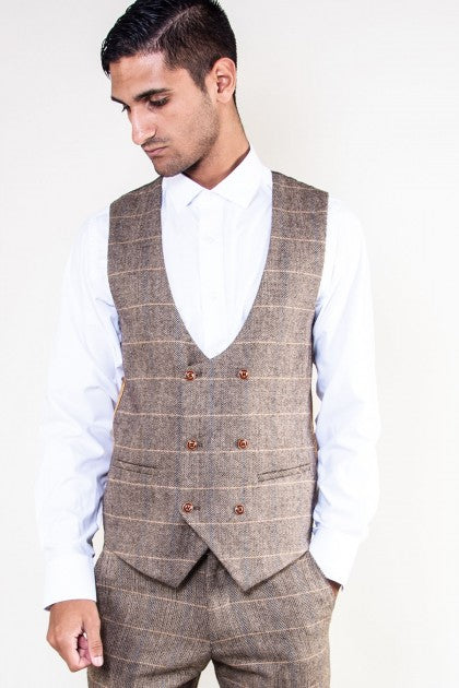 Blake Double Breasted Tan Tonal Check Tweed Waistcoat - Mens Tweed Waistcoats - Mens Tweed Suits