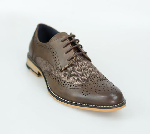 Brown Leather Wing Tip Brogue Shoes with Herringbone Tweed Inserts