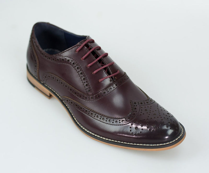 Wine Lace Up Brogues - Mens Tweed Suits