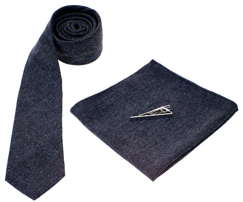Navy Herringbone Tie Set