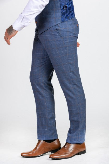 Matthew Sky Blue Check Tweed Trousers - Mens Tweed Trousers - Mens Tweed Suits