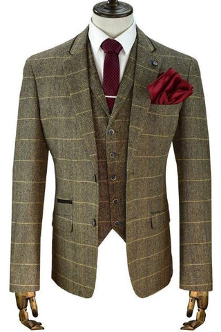 Peaky Blinder Vintage Brown Tweed Check Mens Suits for Weddings