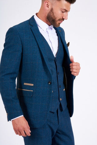 Dion Blue Tweed Check Suit - Mens Tweed Suits