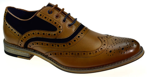 Ethan Tan Brogues - Mens Tweed Suits