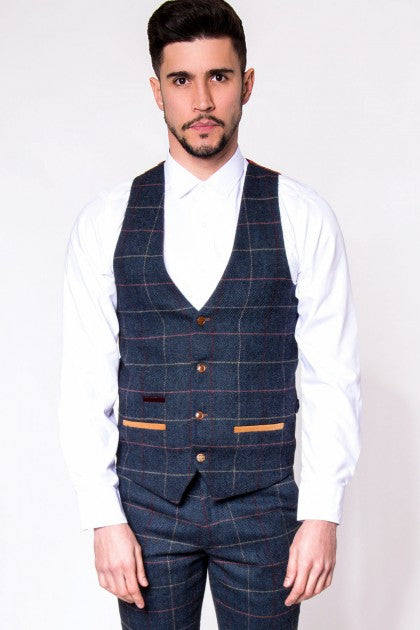 Eton Single Breasted Navy Check Tweed Waistcoat - Mens Tweed Waistcoats - Mens Tweed Suits
