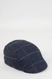 Eton Navy Check Print Tweed Flat - Mens Tweed Suits