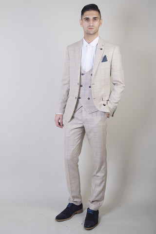 Marc Darcy Cream Tweed Wedding Suits For Men