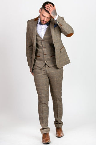 tan mens tweed suits herringbone check three piece suit