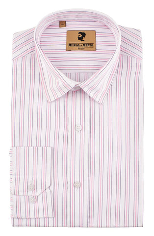 Menga Menga 3 Stripe Pink - Mens Tweed Suits