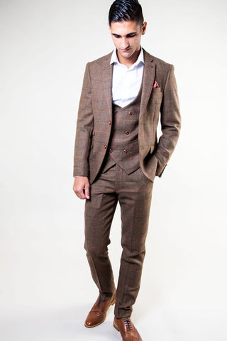 Tan Heritage Tweed Marc Darcy 3 piece suit