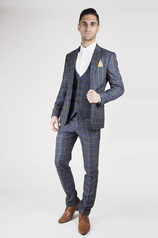 Gold Check Wedding Suit Marc Darcy Mens Tweed Suits