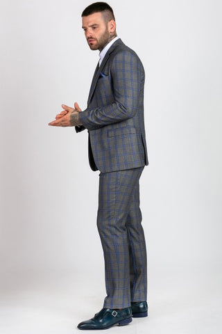 Roman Grey Check Suit - Mens Tweed Suits