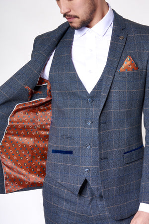 Preston Blue Tweed Check - Mens Tweed Suits