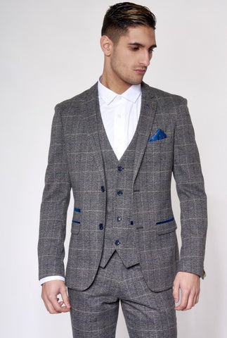 Scott Grey Tweed Check Suit - Mens Tweed Suits