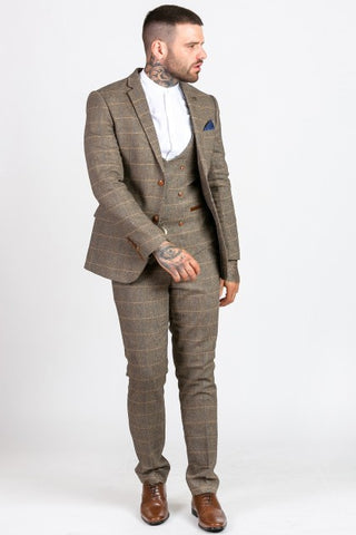 Marc Darcy Tan Tweed Check Mens Wedding Suits