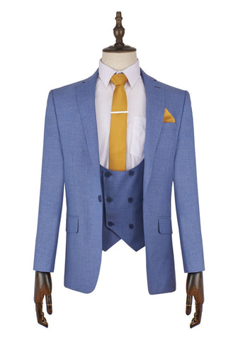 Totti Light Blue Suit - Mens Tweed Suits