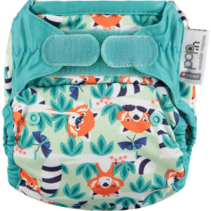 close pop in reusable nappy in red panda print