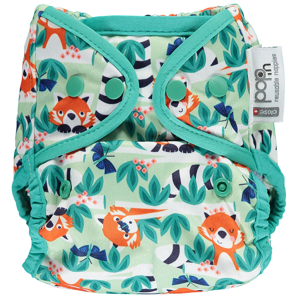 close pop in reusable popper nappy with red panda print