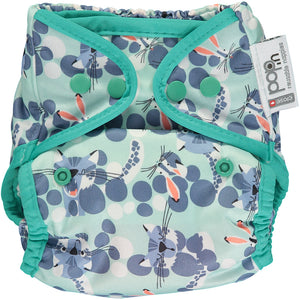 close pop in reusable popper nappy with snow leopard print