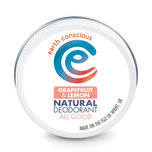 earth conscious natural deodorant in a tin - grapefruit and lemon