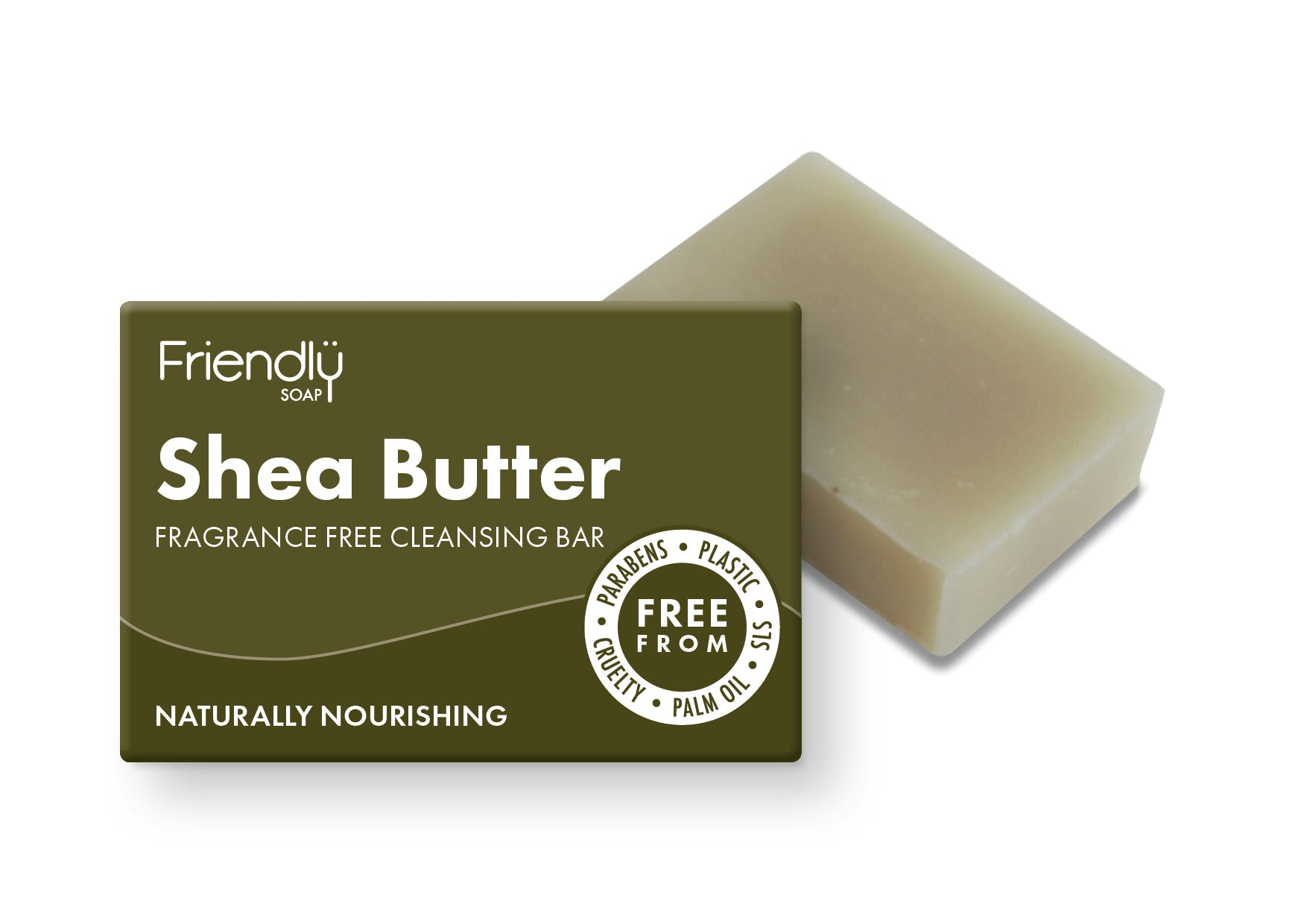 Shea butter cleansing bar in zero waste packaging made by friendly soap