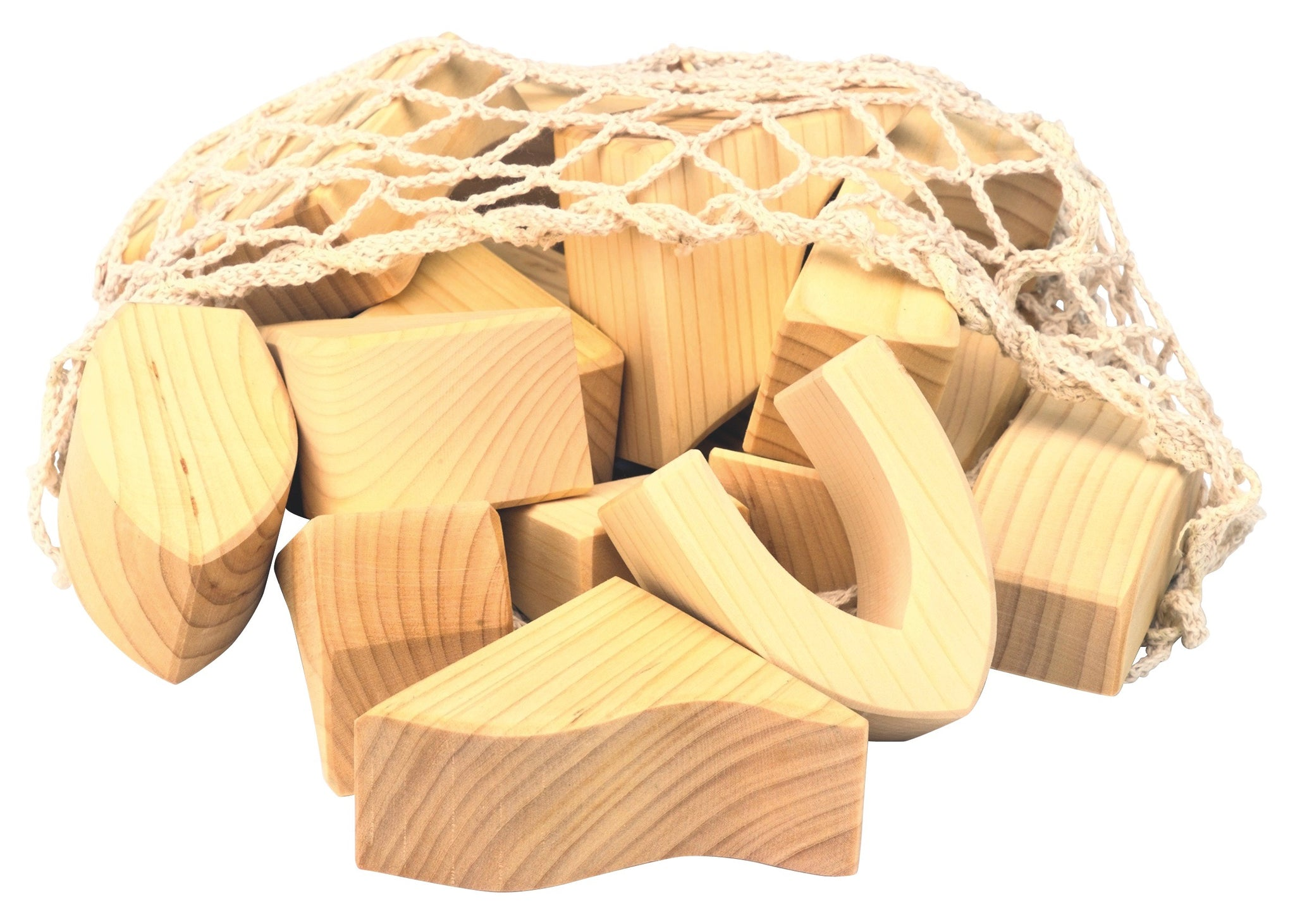 gluckskafer large wooden block set in a net bag