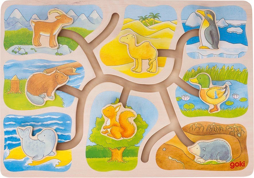 goki wooden sliding animals puzzle