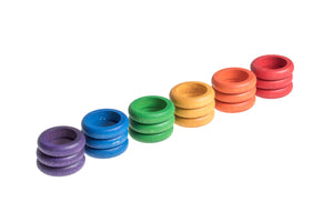grapat 18 wooden rings in rainbow colours