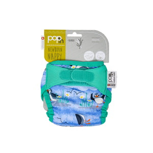 Close Pop In Blue Puffin Print Newborn Nappy - Smallkind