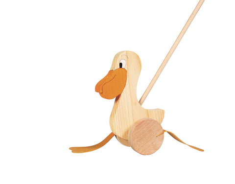 Goki wooden push along pelican toy