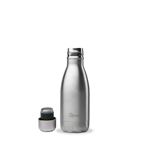 Insulated Water Bottle 260ml - Brushed Steel - Smallkind