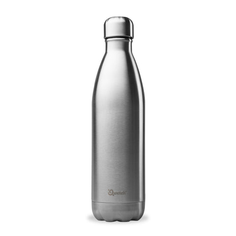 Qwetch double walled insulated stainless steel water bottle in silver