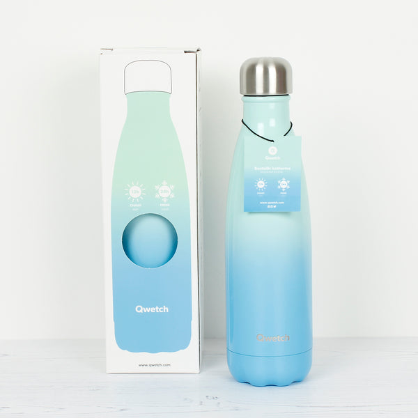 sky blue stainless steel drinks bottle with box