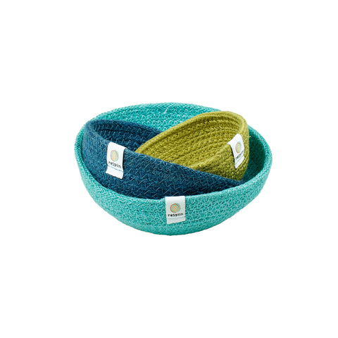 respiin jute bowls set of three in ocean blues