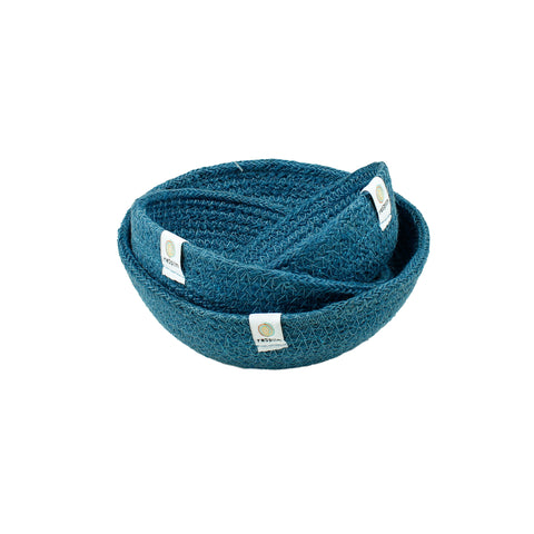 Respiin jute mini bowls set of three in denim blue