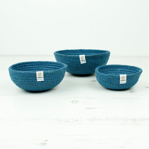 set of three eco jute bowls by respiin