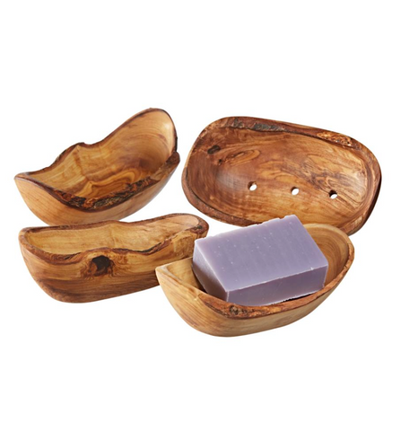 olive wood soap dishes with natural soap