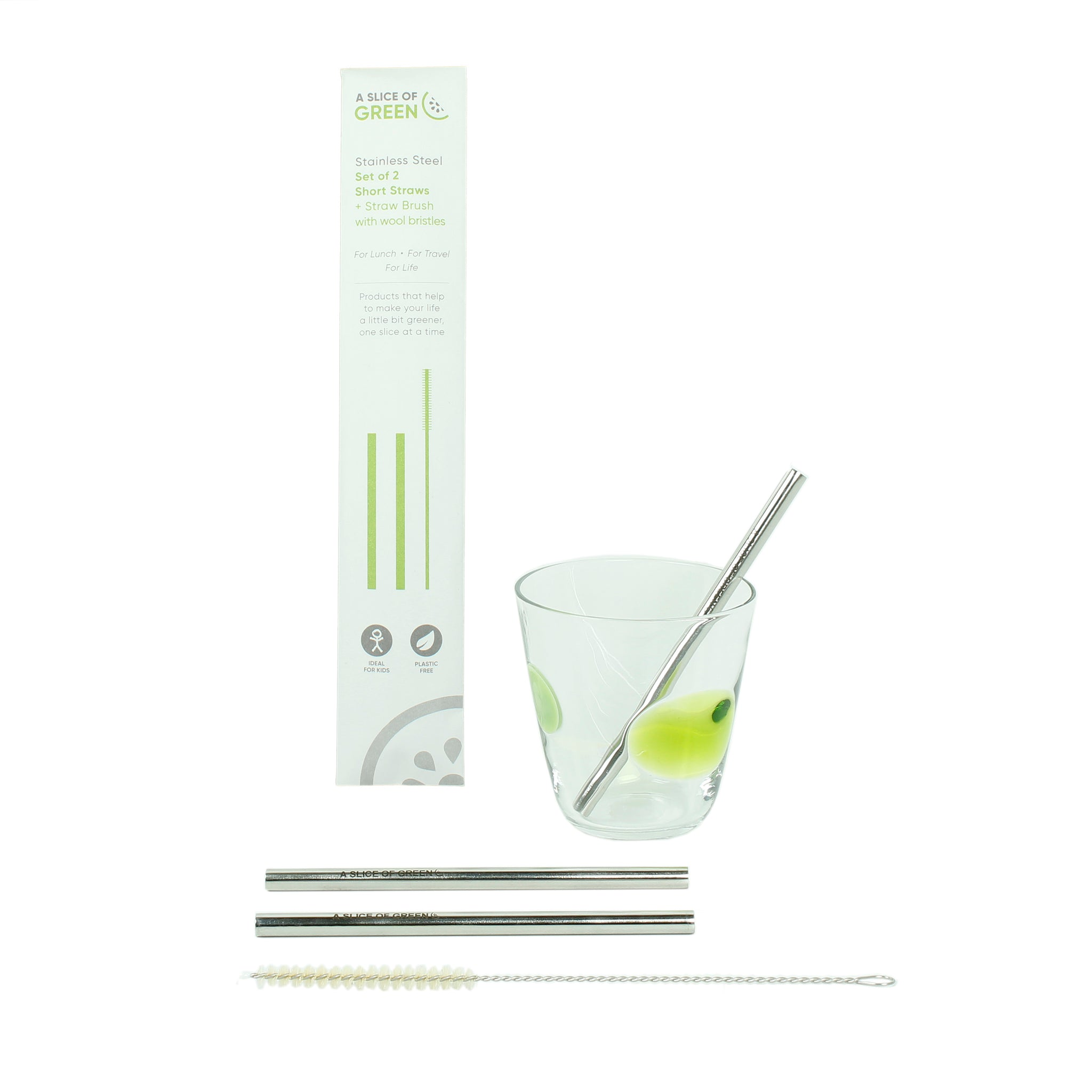 Set of Two Stainless Steel Short Straws + Brush
