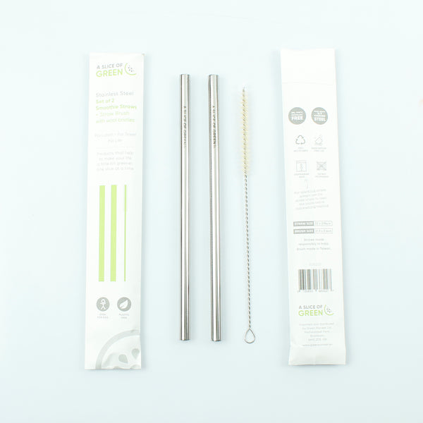 Set of Two Stainless Steel Smoothie Straws + Brush - Smallkind
