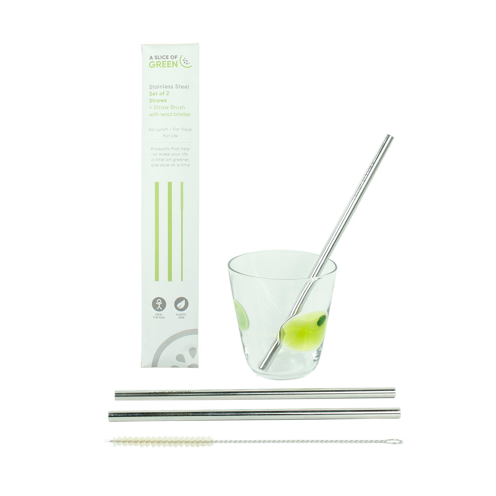Stainless steel straws and cleaning brush