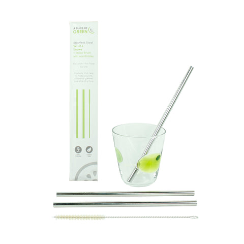 Set of Two Stainless Steel Straws + Brush - Smallkind