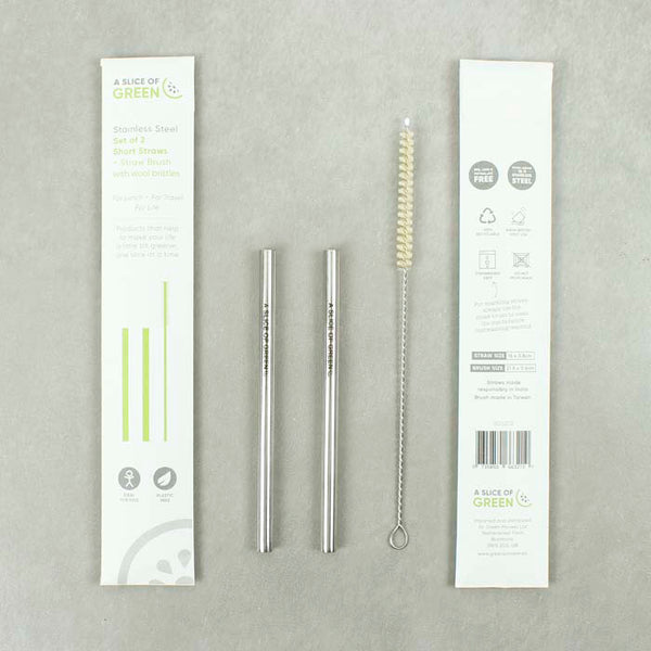 Set of Two Stainless Steel Short Straws + Brush - Smallkind