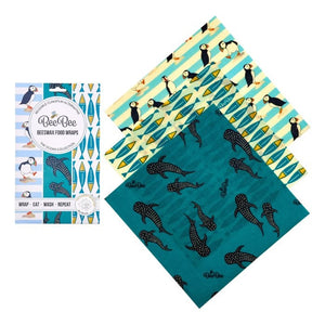 bee bee wax wraps - the cheese pack - ocean print