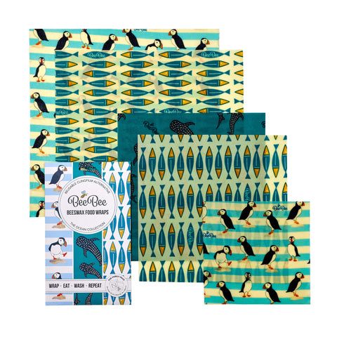 beebee wax wraps family pack in ocean print - beeswax reusable food wraps