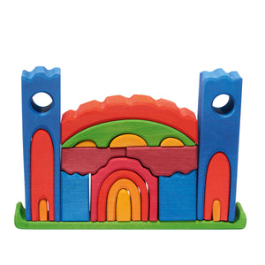 wooden play castle building block set