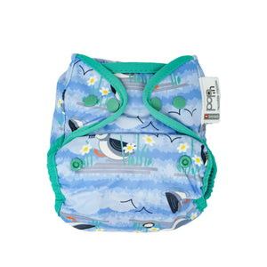 Close Pop In Blue Puffin Print Popper Nappy - Smallkind