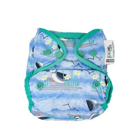 close pop in puffin print popper nappy