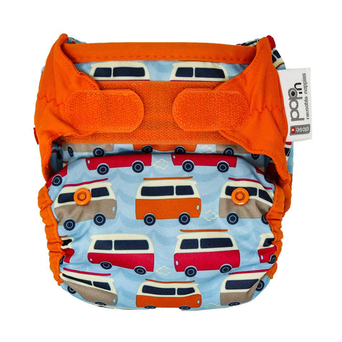close parent vintage campervan print nappy