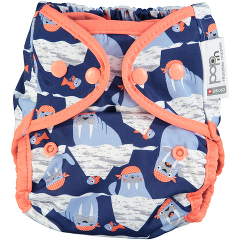 close pop in walrus printed v2 bamboo nappy