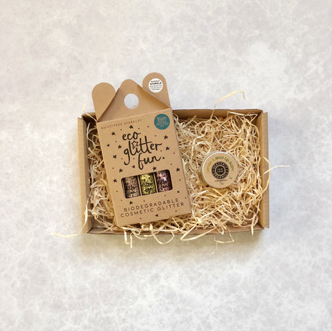 Eco Glam Letter Box Gift Set with glitter and lip balm